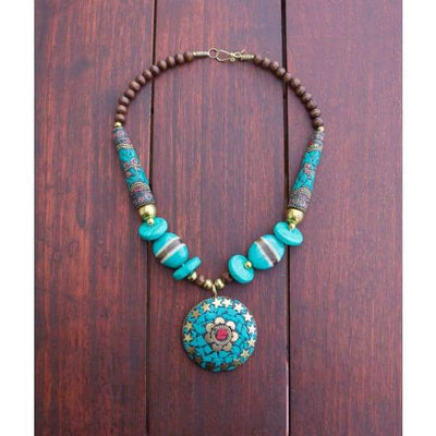 A$89.95 - NEPALESE STONE TURQUOISE & CORAL TRIBAL STYLE BOHO NECKLACE - HAND MADE & CRAFTED IN NEPAL 🇳🇵 0.2KG (5) ISLAND BUDDHA