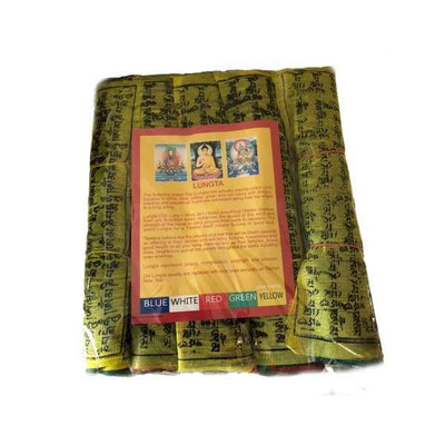 $37.95 - NEPALESE TIBETAN PRAYER FLAGS HAND MADE IN NEPALSMALL MEDIUM & LARGE MEDIUM PACK 0.4KG (4) ISLAND BUDDHA