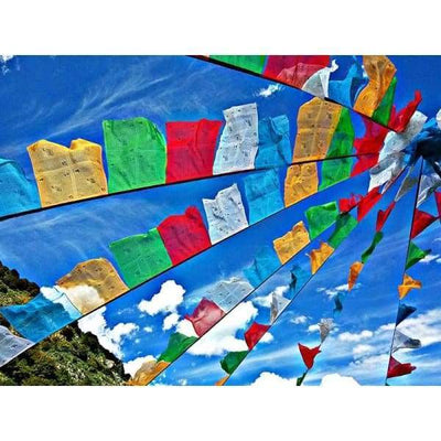 $44.95 - NEPALESE TIBETAN PRAYER FLAGS HAND MADE IN NEPALSMALL MEDIUM & LARGE (13) ISLAND BUDDHA