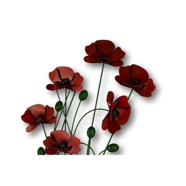 Poppy Floral Metal Wall Art - Hanging Plaque of Poppies Flowers