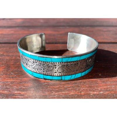 A$49.95 - SILVER AND TURQUOISE NEPALESE TIBETAN BUDDHIST BRACELET - HAND MADE IN NEPAL 🇳🇵 0.2KG (1) ISLAND BUDDHA