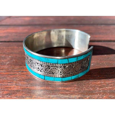 A$49.95 - SILVER AND TURQUOISE NEPALESE TIBETAN BUDDHIST BRACELET - HAND MADE IN NEPAL 🇳🇵 0.2KG (2) ISLAND BUDDHA