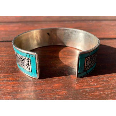 A$49.95 - SILVER AND TURQUOISE NEPALESE TIBETAN BUDDHIST BRACELET - HAND MADE IN NEPAL 🇳🇵 0.2KG (4) ISLAND BUDDHA