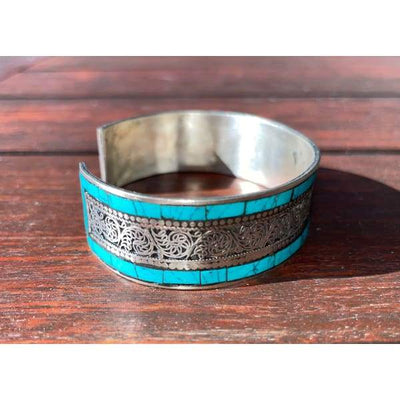 A$49.95 - SILVER AND TURQUOISE NEPALESE TIBETAN BUDDHIST BRACELET - HAND MADE IN NEPAL 🇳🇵 0.2KG (3) ISLAND BUDDHA