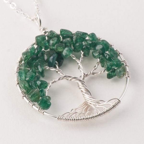 Tree of Life 7 Chakra Healing Stones Necklace & Aventurine