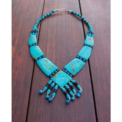 A$69.95 - TURQUOISE TRIBAL STYLE BOHO NECKLACE - HAND MADE & CARVED IN NEPAL 🇳🇵 0.2KG (3) ISLAND BUDDHA