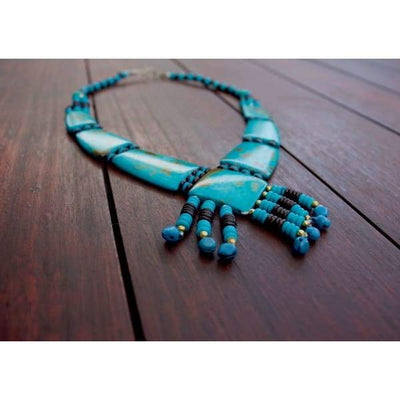 A$69.95 - TURQUOISE TRIBAL STYLE BOHO NECKLACE - HAND MADE & CARVED IN NEPAL 🇳🇵 0.2KG (4) ISLAND BUDDHA