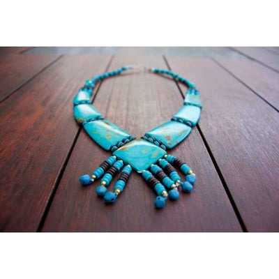 A$69.95 - TURQUOISE TRIBAL STYLE BOHO NECKLACE - HAND MADE & CARVED IN NEPAL 🇳🇵 0.2KG (2) ISLAND BUDDHA