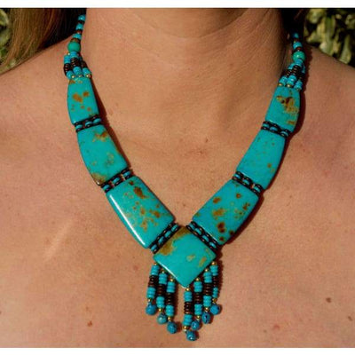 A$69.95 - TURQUOISE TRIBAL STYLE BOHO NECKLACE - HAND MADE & CARVED IN NEPAL 🇳🇵 0.2KG (8) ISLAND BUDDHA