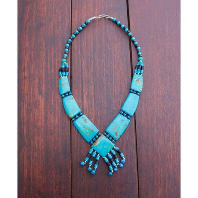 A$69.95 - TURQUOISE TRIBAL STYLE BOHO NECKLACE - HAND MADE & CARVED IN NEPAL 🇳🇵 0.2KG (5) ISLAND BUDDHA