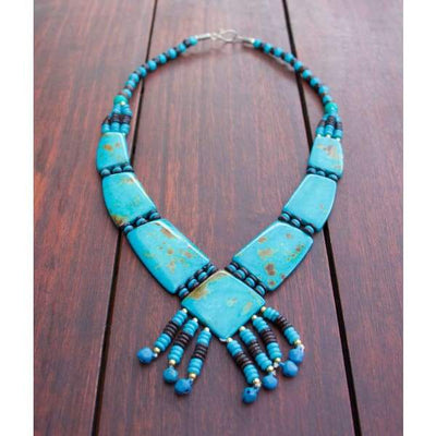 A$69.95 - TURQUOISE TRIBAL STYLE BOHO NECKLACE - HAND MADE & CARVED IN NEPAL 🇳🇵 0.2KG (1) ISLAND BUDDHA