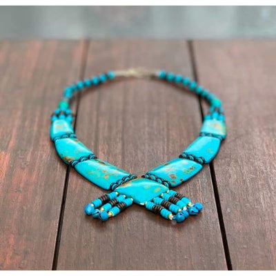 A$69.95 - TURQUOISE TRIBAL STYLE BOHO NECKLACE - HAND MADE & CARVED IN NEPAL 🇳🇵 0.2KG (10) ISLAND BUDDHA