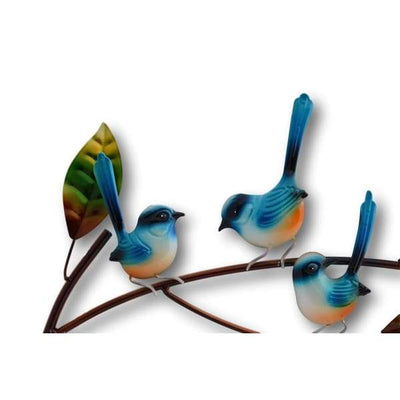 A$89 - WRENS ON A BRANCH WALL ART - HAND MADE BALI METAL ART 0.98KG (2) ISLAND BUDDHA