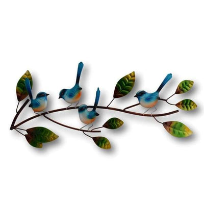 A$89 - WRENS ON A BRANCH WALL ART - HAND MADE BALI METAL ART 0.98KG (1) ISLAND BUDDHA
