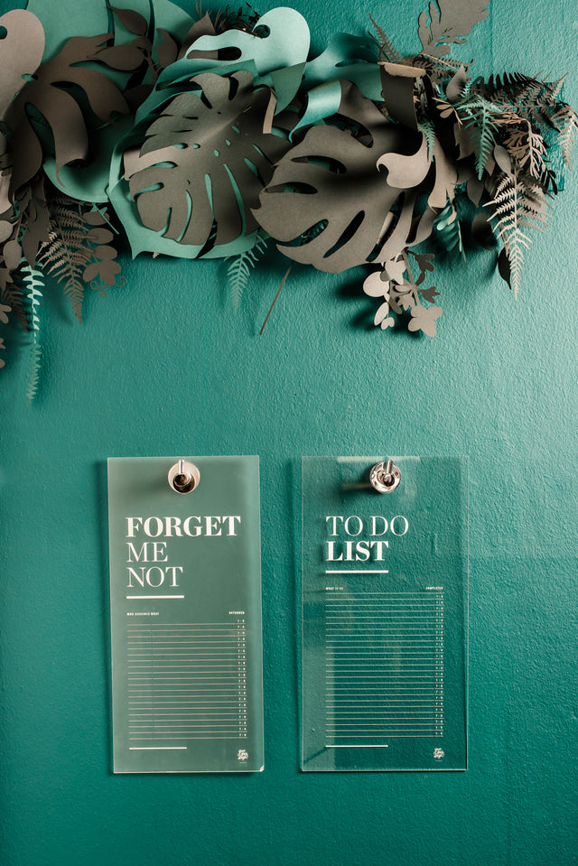 forget-me-not & to-do plaques