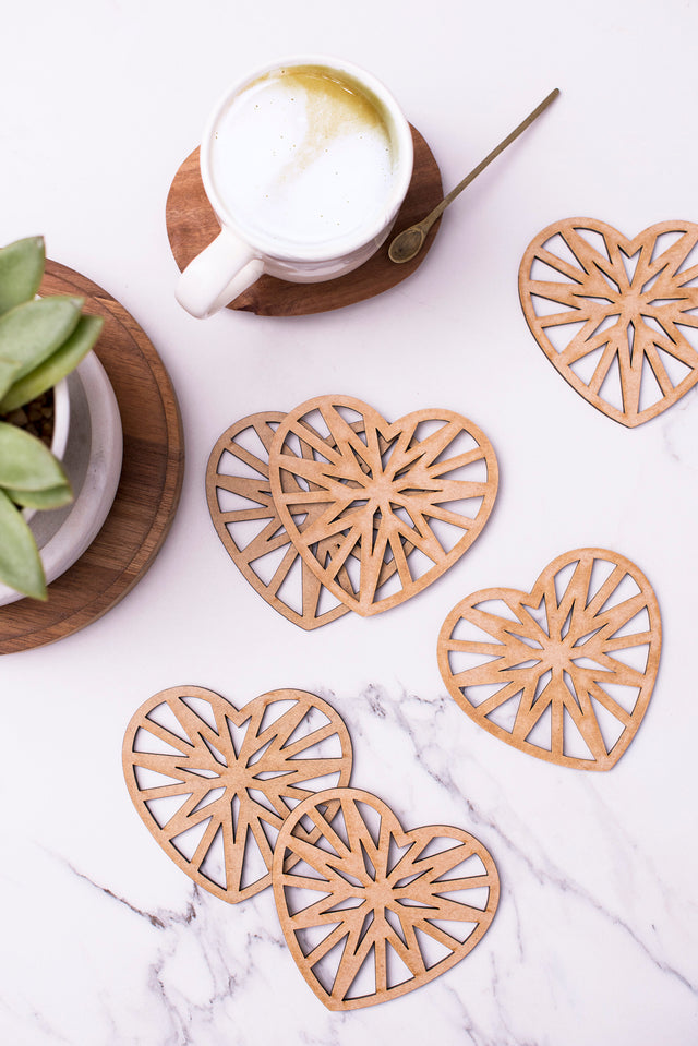 coaster geometric heart (set of 6)