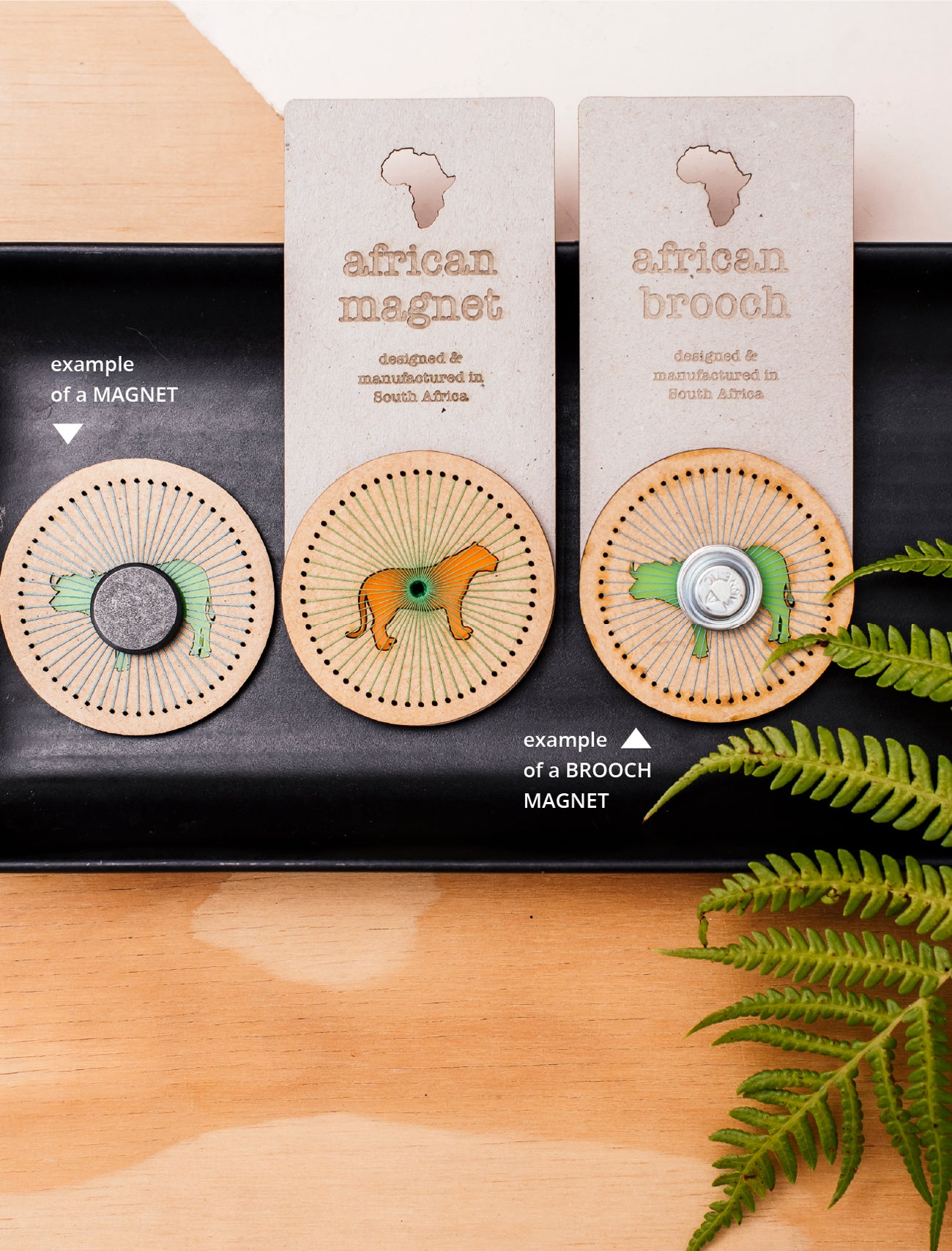 africa stitched magnet / brooch set of 4
