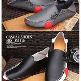 Mens Casual Genuine Leather Flats Driving Moccasins Slip On Men Boat Shoes