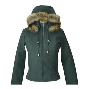 Vegan Fashion Jacket. Faux Suede Bomber Hoodie In Green 'Sarah'