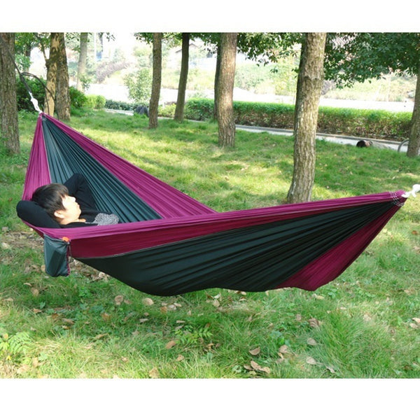 Portable Outdoor Traveling Camping Parachute Nylon Fabric Hammock For Two Person