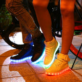 Microfiber Leather Large Size Luminous LED Shoes For Adults