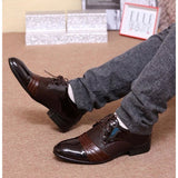 Fashion Mens Pointed Leather Shoes (Black,Brown)