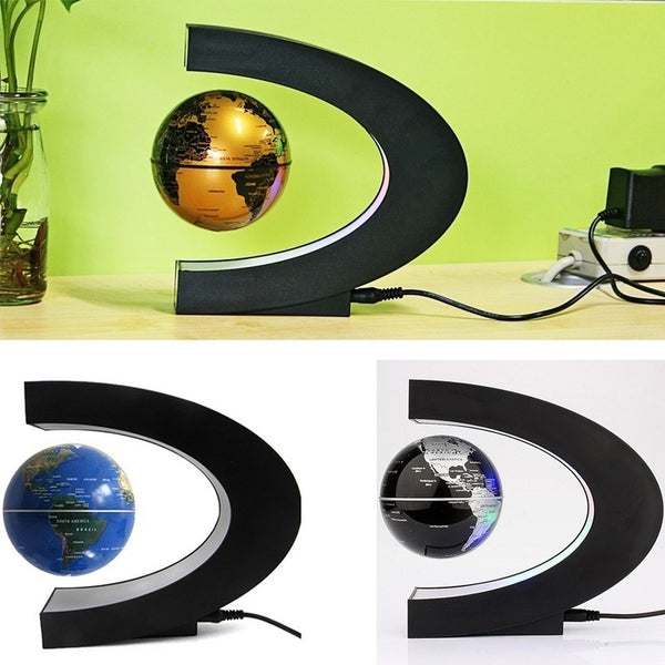 3 colors C shape LED World Map Decoration Magnetic Levitation Floating Globe Light
