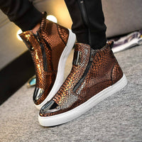 Men's Fashion High Top Loafers, Leisure Sneakers Hip Hop Shoes