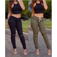 Women's Fashion Broken-hole Stretch Pants Casual Slim Pencil Pants