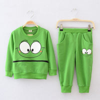 2 Pcs Baby Kid Unisex Suits Tracksuit Smiling Face Cotton Top Harem Pant Outfit