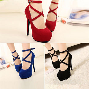 Fashion Women Sexy Pure Color Pumps Platform Strappy Buckle Stiletto High Heels