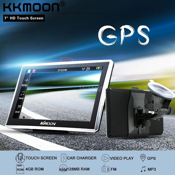 "Car GPS KKMOON 7"" HD Touch Screen Portable GPS Navigator FM MP3 Video Play"