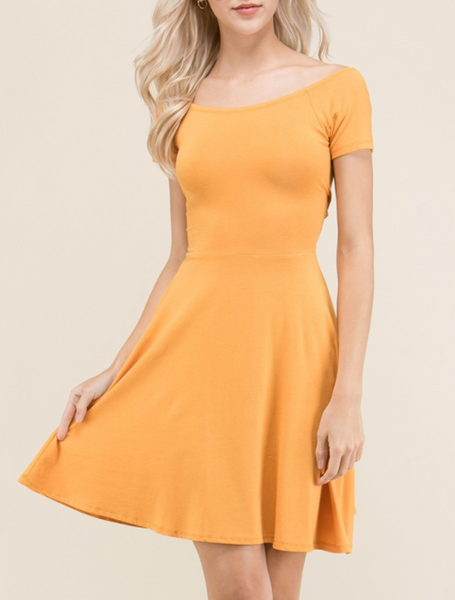 Jessica - Gold Short Sleeve Skater Tunic Dress