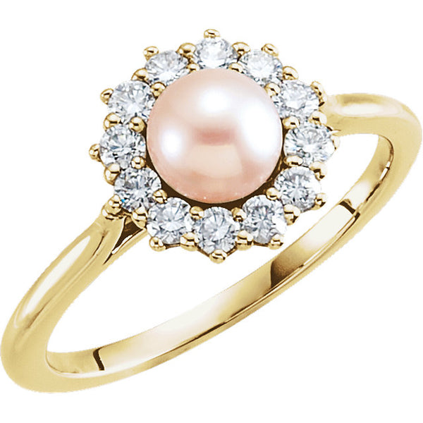 Halo-Style Pearl Ring