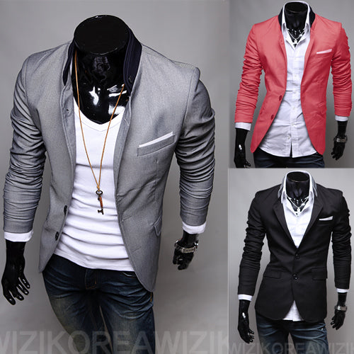 Casual Slim Stylish fit One Button Suit Blazer Coat Jackets FREE SHIPPING