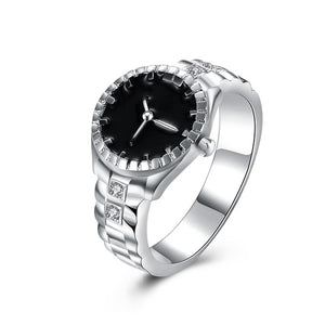 Euramerican Silver Color Wedding Bands Watch Ring,Casual Men and Women Jewelry Cool Sporty Accessory