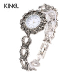 Vintage Jewelry Luxury Gray Crystal Bracelets Silver Plated Decorative Watch