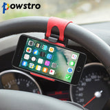 Powstro Car Steering Wheel Mobile Phone Holder Bracket for iPhone 6s 6 7 plus Samsung S7 S6 HUAWEI P9 P8 LITE Car phone holder