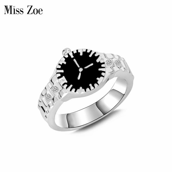 Miss Zoe Watch Ring Simple Personality Rhinestone