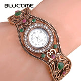 Blucome Brand Turkish Watches Bangles Antique Gold Color