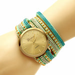Hesiod Green Multilayer Leather Wrap Wristband Dress Watch