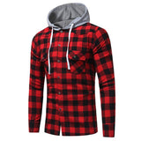 Fashion Hooded Button Down Long Sleeve Casual Plaid Check Slim Fit Shirt Blusas Blouse Tops Chemise