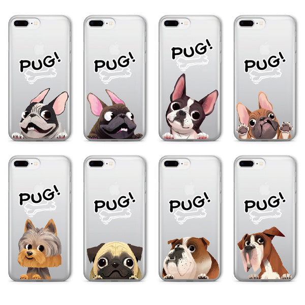 French Bulldog Puppy Pug Soft Clear iPhone 5 5S SE 6 6S 6Plus 7 7Plus 8 8Plus X Phone Cover Case