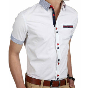 Vetement Homme Men Shirt Short Sleeve Slim Fit Shirt