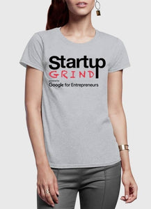 Startup Grind Grey Half Sleeves Round Neck Women