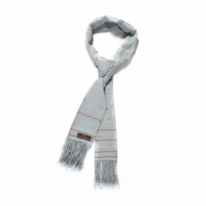Traditional gray Scarf (Light Pale Blue Pattern)