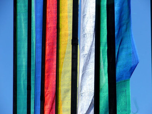 Bhutanese Vertical Prayer flags for hoisting, 7 & 10 ftx3 ft, Multicolour flags - Druksell.com