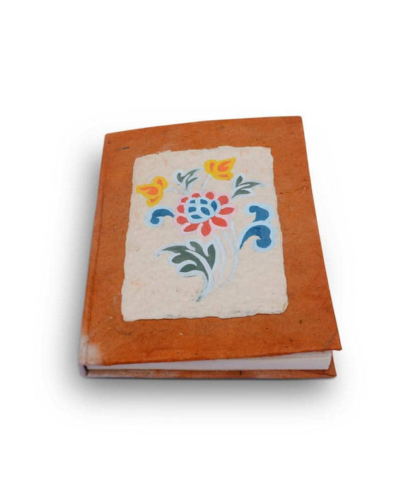 Sas-tsen painted floral on organic desho notebook - Druksell.com