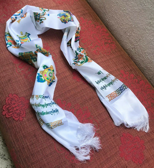 Bhutan silk scarf with 8 lucky signs | Khadar - Druksell.com