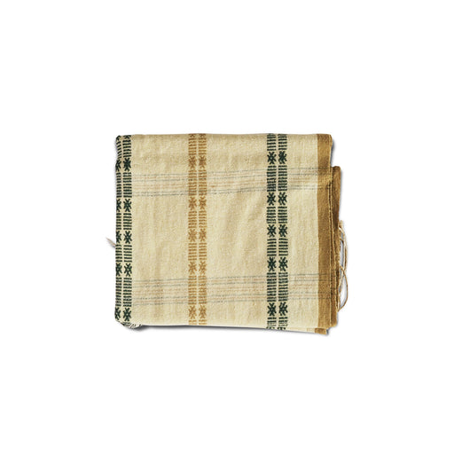 Traditional Cream Scarf (Green Pattern) (4593999183990)